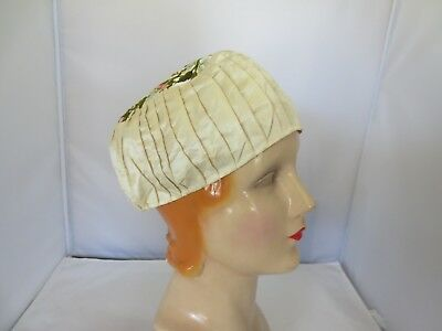 Vintage Antique Embroidered SILK MORNING Cap Hat, Victorian, Edwardian, 1920's