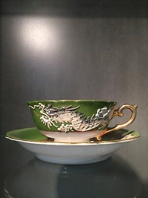 Vintage Moriage Dragonware Hand Painted Tea Cup And Saucer