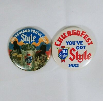 Chicago Fest Old Style Beer Pins Lot Of 2