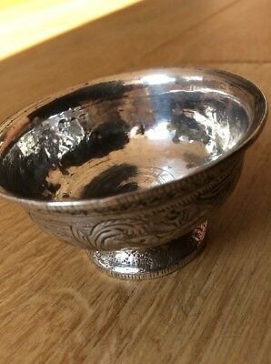 Silver Plated Salt, Small Bowl, Chinese? Decorated, Flowers & Birds 5.5cm Dia