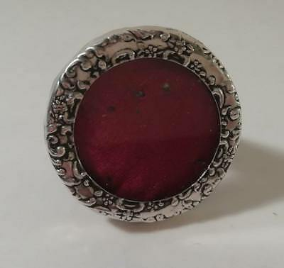 A Small Leather Backed Circular Silver Photo Frame : Birmingham 1900