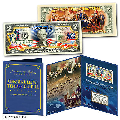 July 4th Independence Day 2-Sided Genuine US $2 Bill in 8x10 Collectors Display