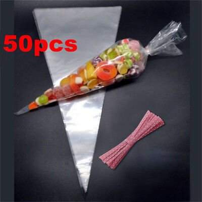 50 × CLEAR 18cm x 37cm Cellophane Cone Sweet Party Bags Candy Cello Twist Tie UK