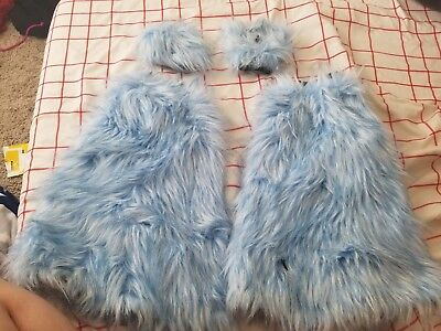 Baby Blue Pawstar Furry rave raver  Leg and arm warmers