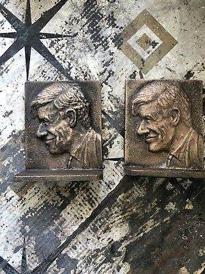 """Antique Vintage Bronze American """"Will Rogers """"Bookends"""