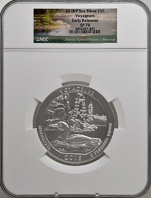 2018-P 5oz SILVER 25C Voyageurs NGC SP 70 Early Releases perfect must see!
