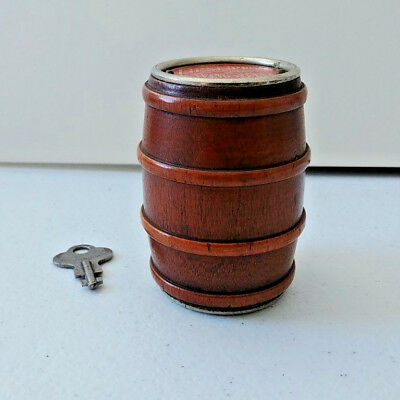 #1409 - Wooden Barrel Coin Bank. The First Trust and Savings Bank. Zanesville OH