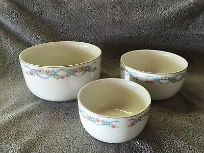 Vintage Hall Wildfire Nesting Mixing Bowls Set Pink Roses Blue Ribbons 3pc