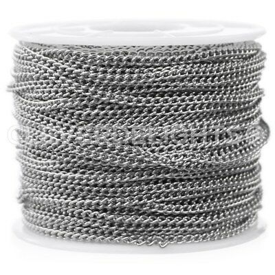 Curb Chain - 100 Feet - Platinum - 2.2mm x 3mm Twisted Link - Bulk Spool