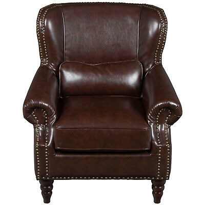 Vintage Antique Style Dark Brown Leather Wing Back Arm Chair Rolled Arms English