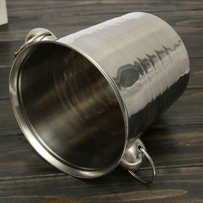2X(Silver Stainless Steel Ice Punch Bucket Wine Beer Cooler Champagne Cooler SQ