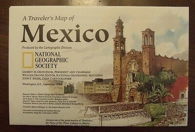 National Geographic MAP A Traveler's Map of Mexico September 1994
