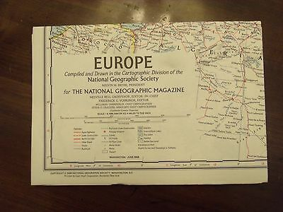 National Geographic Map Europe June 1969 Very Good Condition Vintage!