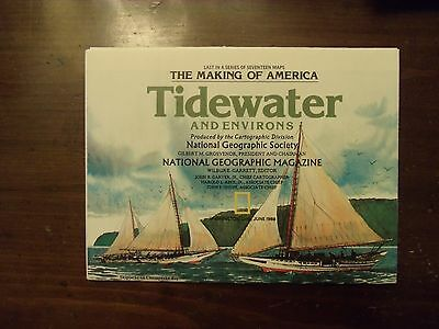 National Geographic Map The Making Of America Tidewater & Environs June 1988