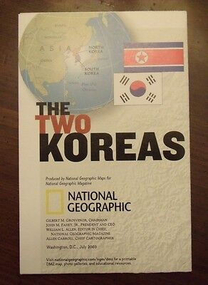 National Geographic MAP The Two Koreas North & South July 2003