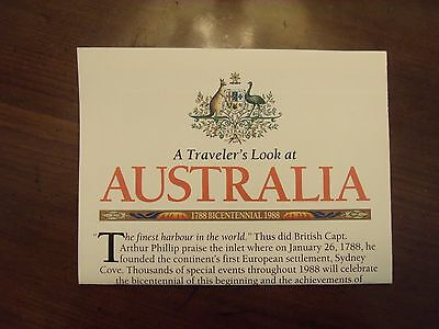National Geographic MAP A Traveler's Look at Australia 1788 Bicentennial 1988