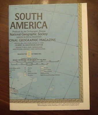 National Geographic MAP South America Continent of Contrast October 1972
