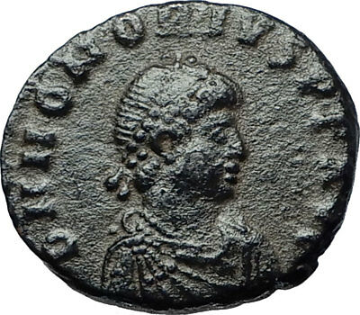HONORIUS w Globe & Labarum 393AD Genuine Authentic Ancient Roman Coin i68123