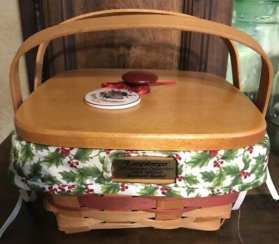 Longaberger 1993 Christmas Green Bayberry Basket Combo with Tie On & Custom Lid