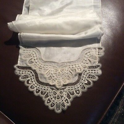 Exceptional Handmade Brussels Duchesse Lace And Silk Scarf