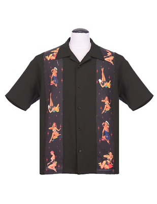 US S Black Steady CONTRAST CROWN Panelled Rockabilly Bowling Shirt 3XL