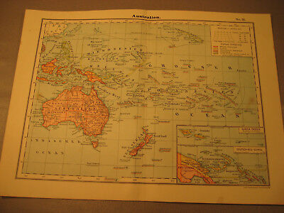 Antike Landkarte um 1900 Australien mit Deutsch Neu Guinea-Antique map