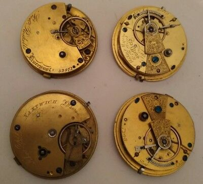 Lot of 4 Antique Fusee Pocket Watch Movements - R. Roskell Liverpool - good (2)