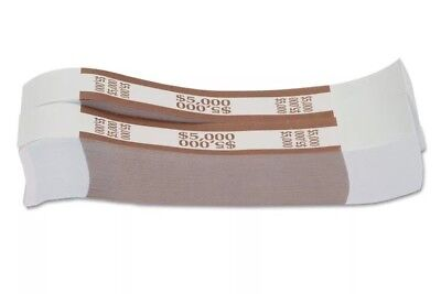 25 BROWN- $5000 SELF-SEALING CURRENCY / MONEY STRAPS/BANDS new. Ships quick!