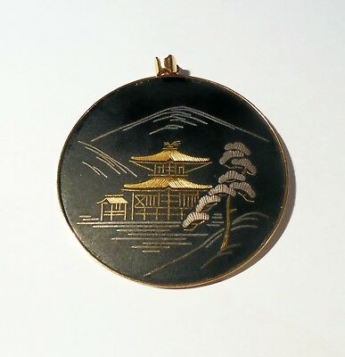 Amita Signed Japanese Damascene Pendant Gold And Silver Inlay Vintage