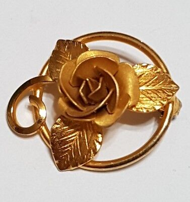 Vintage Bond Boyd Sterling Silver Flower Brooch Pin Gold Covered Solid .925 S