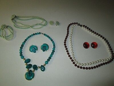 Lot of 3 Estate Sale Jewelry Sets Necklace Earrings and (1) Bracelet