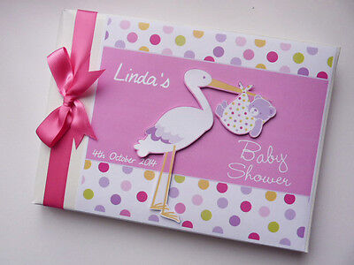 Personalised Pink Stork Baby Shower Boy/girl Guest Book - Any Design