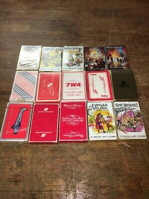 Vintage TWA Western United American Delta Air Lines Playing Cards Lot of 15