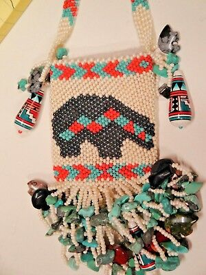 Repoduction Of Native American Beaded Bag , Purse Cigarette Holder