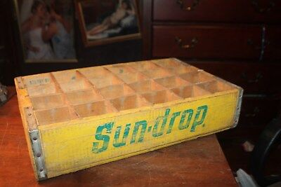 Vintage Sundrop Soda Pop Advertising Wood Crate 24 Divided
