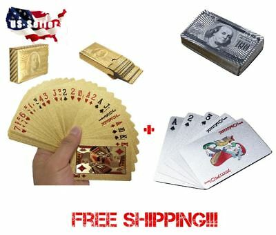 2 Decks!!! Deck of 24k Gold and Silver Foil Plating Poker Plastic Playing Cards