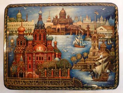 Vintage Russian Lacquer Box Saint St. Petersburg Cathedrals River WaterFront