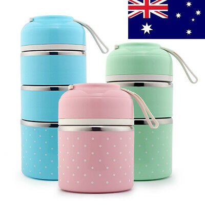 AU! 1/2/3 Layer Thermal Insulated Stainless Steel Food Container Bento Lunch Box