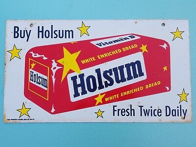 Rare 1950s 2 sided Holsum Bread Metal Tin Sign Bakery Cooking Cafe General Store