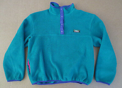 Vintage LL Bean T Snap Fleece Pullover Womens LARGE Made in USA Green Ski-Hike