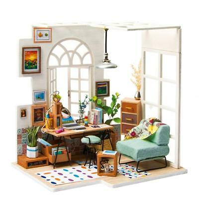 DIY Doll House Miniature Kit Cabin Dollhouse with Furniture LED Lights Xmas Gift