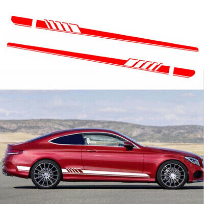 08ff0fca3e 2pcs Car Side Body Racing Sports Long Stripe Vinyl Decal Sticker Graphic Red