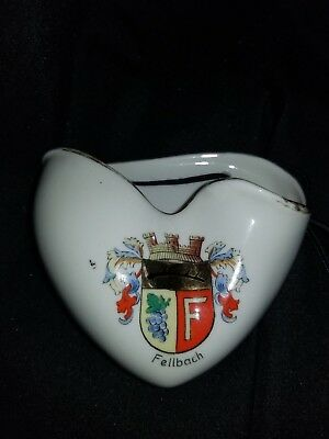 Vintage Kronach Bavaria OCA Porcelain Wall Pocket Fellbach Germany Crest (B)