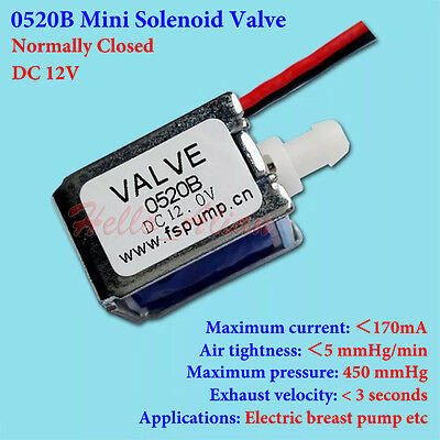 DC 12V Mini Electric DC Solenoid Valve N/C Normally Closed Gas Air Exhaust valve