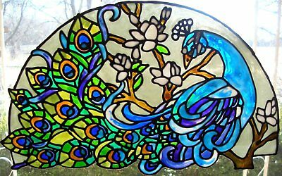 Peacock  Stained Glass Window  Static Cling  Great Quality And Colors 13.25 x 8