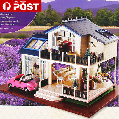DIY Wooden Toy Doll House Miniature Kit Caravan Dollhouse Music LED Lights Car