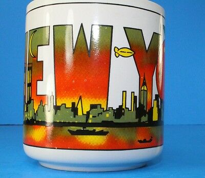 VTG NEW YORK NYC Big Apple Colorful 1980s Coffee Mug TWIN TOWERS WTC Rare