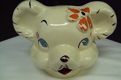 Antique American Bisque Pottery Turnabout Mouse Cookie Jar Lid