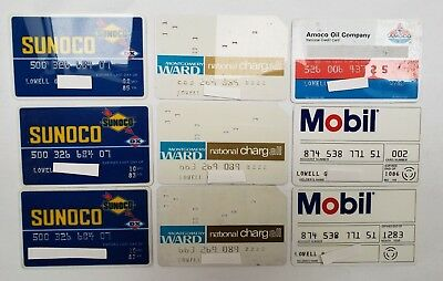 Lot 13 Vintage Sunoco Mobil Wards Sears Amoco Credit Charge Cards from 1980s