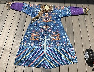 Fine Antique Chinese Blue Dragon Robe With Fine Gold Dragons
